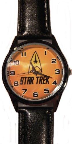 STAR TREK Original Series COMMAND LOGO Genuine Black Leather Band WRIST WATCH