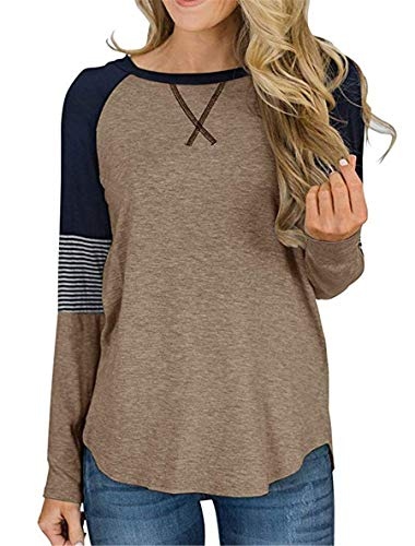 Striped Brown Color - Topstype Women's Long Sleeve Color Block Tunic Tops Crew Neck Casual Shirt Striped Blouses (Medium, Brown)