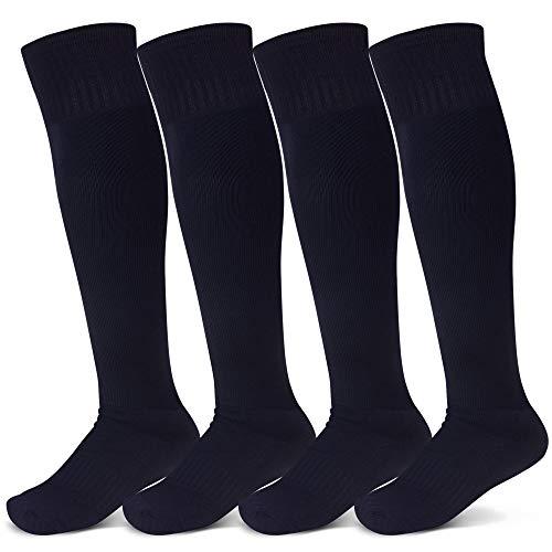 Raigoo Soccer Socks For Kids(4-11 Years Old), Kneel High Classic Stripe Tube Socks for School Team Youth Boys & Girls