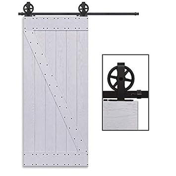 CCJH 6FT-183cm Herraje para Puerta Corredera Kit de Accesorios para Puertas Correderas Rueda Riel Juego para Una Puerta de Madera: Amazon.es: Bricolaje y ...
