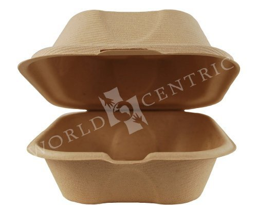 World-Centrics-100-Biodegradable-100-Compostable-6-X-6-X-3-Single-Compartment-Plant-Fiber-Clamshells-Case-of-500