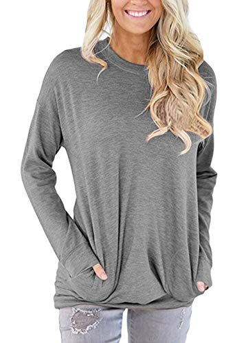 Unidear Women Casual Long Sleeve Round Neck Loose Blouses Tops with Pocket Light Gray ()