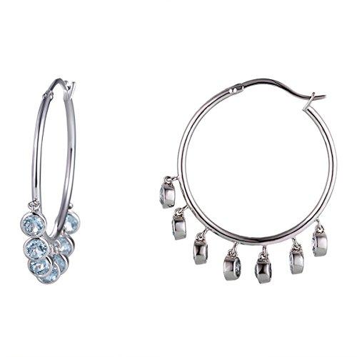 925 Silver Dangling Blue Topaz Inside-Out Hoop Earrings for Women (Dangling Topaz)