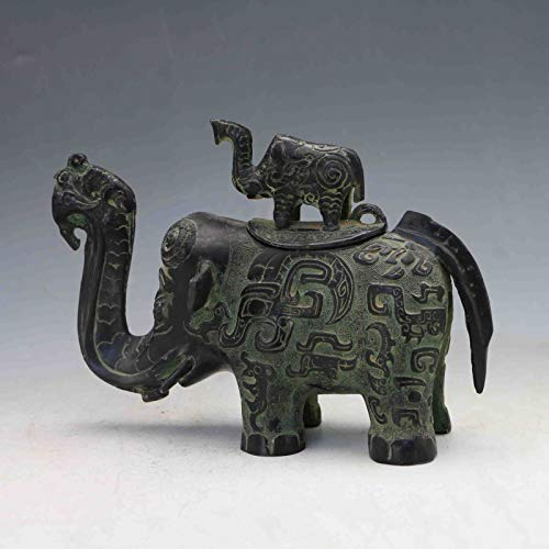 ZAMTAC Collectible Chinese Bronze Handwork Carved Elephant teapot & Lid ()