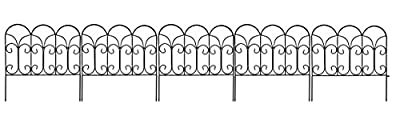 "Amagabeli Garden Fence Wire Border Fence Iron Patio Decorative Lawn Fence Panels Metal Concise Design, 18"" by 18"" (5)"