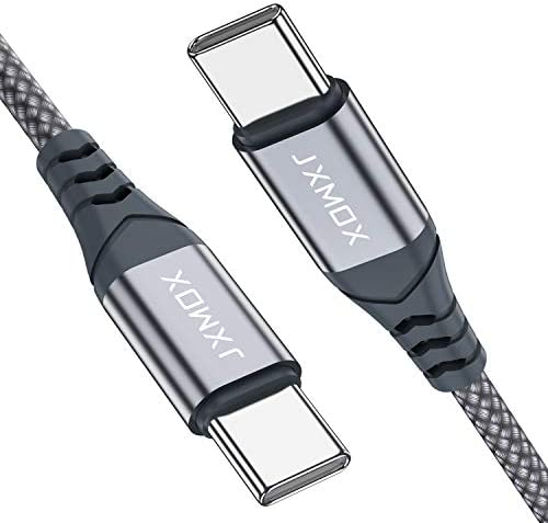 USB C to USB C Cable [2 Pack 3.3ft], JXMOX USB Type C Fast Charger Nylon Braided Charging Cord Compatible with Samsung Galaxy S20 S20+ S20 Ultra Note 10, Google Pixel 2/3/4 XL,iPad pro 2018 etc-Grey