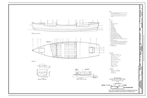Historic Pictoric Blueprint Diagram Profile, Deck Plan, and Transom - Projected - Galloway Type Boat Cataract Boat Stone Boat, Grand Canyon, Coconino County, AZ 12in x - Grand Stone Canyon