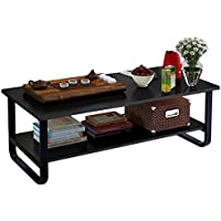 Rectangular Coffee/Tea Table with Storage Shelf (Black)