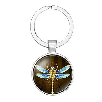 Cristal Llavero Llavero de regalos, diseño de libélula ...