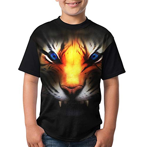 Kids Youth Ferocious Golden Tiger Customized O-Neck T Shirt Tee for Girls Black M ()