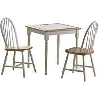 Boraam 70301 Square Tile Top 3-Piece Dining Set, White/Natural