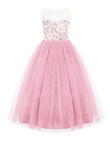 Gowns Toddler (Little Big Girls Party Gown Princess Lace Dress Model 569 (3-4 Years, Pink))