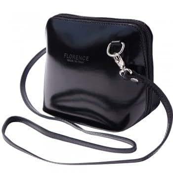 LaGaksta Very Small Flat Handmade Italian Leather Crossbody Bag/Black