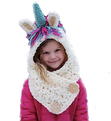 Jennifer + June Toddler Girl and Boy Knitted Crochet Hats with Unique Ears for Kids. (Unicorn Scarf Hat in 5T to 10T) Pink ()