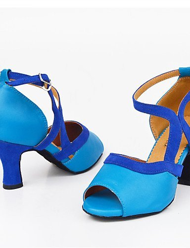 ShangYi Chaussures de danse(Noir / Bleu) -Personnalisables-Talon Aiguille-Satin-Latine / Moderne Blue