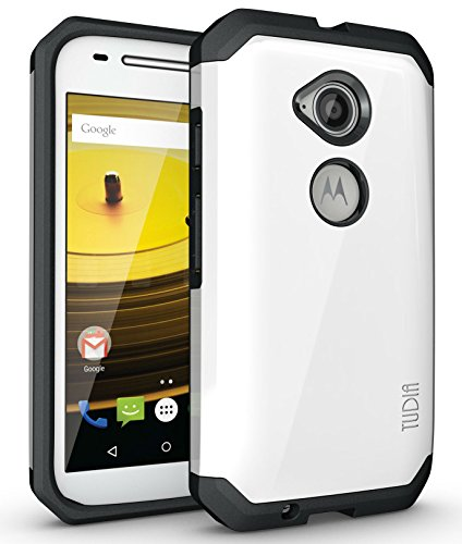 (TUDIA Slim-Fit CYGEN Dual Layer Protective Case for Motorola Moto E (2nd Generation, 2015) (Pearl White))