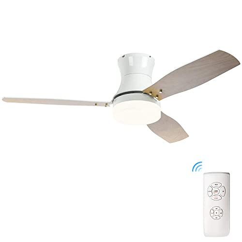 52 inch Ceiling Fan with LED Light and Remote Control, Indoor Ceiling Fans with Super Noiseless 3 Double Color Blades, Dimmable Three Color LED Lights, 3 Speed Remote Control Timing Function, White