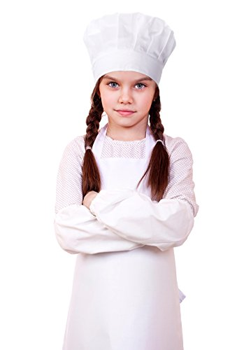 Kids Chef Cooking Apron, Hat and Oversleeves Set, 100% Cotton Child Chef Costume, Perfect for Above 4 Years Old Children Cooking, Baking, Painting (White) -