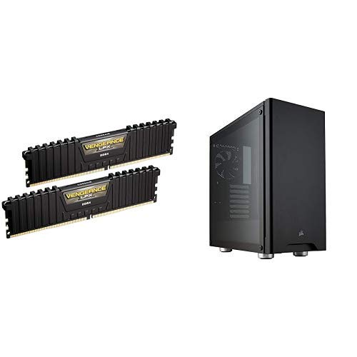 Corsair Vengeance LPX 16GB (2x8GB) DDR4 DRAM 3000MHz C15 Desktop Memory Kit – Black and CORSAIR CARBIDE 275R Mid-Tower Gaming Case, Tempered Glass- Black