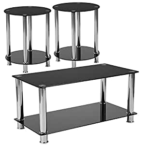 Flash Furniture Riverside Collection 3 Piece Coffee and End Table Set with Black Glass Tops and  sc 1 st  Amazon.com : black coffee and end table sets - pezcame.com