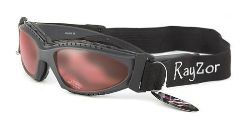 Rayzor Professional UV400 GunMetal Grey 2 In 1 Anti Fog Sports Sunglasses / Goggles
