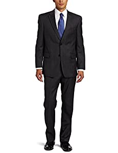 B008CWF288 Tommy Hilfiger Men's Plaid Trim Fit Suit With Flat Front Pant, Gray, 46 Regular