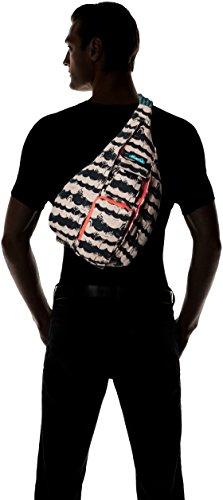 KAVU Rope Bag Cotton Shoulder Sling Backpack 6 Pockets: 1 interior zip, 3 exterior Pockets: 1 interior zip, 2 exterior