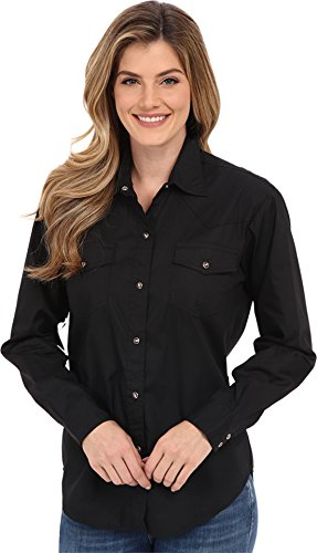 Roper Women's L/S Solid Basic Snap Front Black Large (Shirt Show Western)