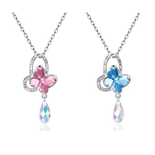 OMZBM 925 Sterling Silver Crystal Butterfly Necklace Exquisite Charm Hypoallergenic Dangle Adjustable Necklace Women Jewelry Platinum,C