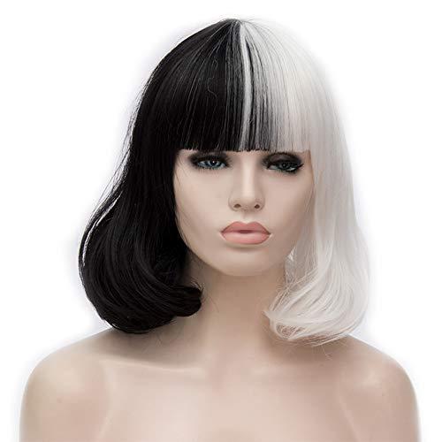 COSPLAZA Cosplay Wig Short BOB Style Natural Loose Wave Flat Bangs Black White Heat Resistant Hair -