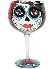 Enesco Designs by Lolita Day of the Dead Halloween Copa Artisan Cocktail Glass, 24 Ounce, Multicolor