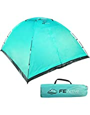 FE Active 3 to 4 Person Camping Dome Tent - Screened Entrance, Easy Quick Setup, Summer Outdoor Adult & Kids Tent Ideal Camping Essential & Gear for Travel & Backpacking | Designed in California, USA