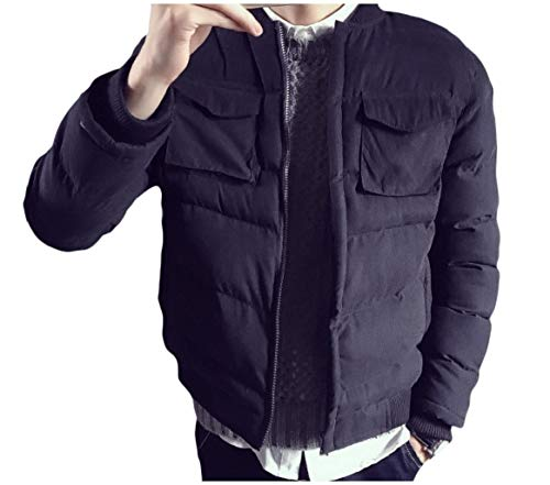Down Men's Relaxed Short RkBaoye Coat Black Fit Pockets with Baseball Casual pZPW68