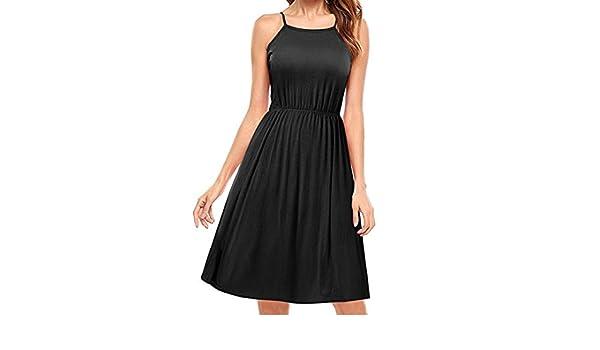 SANFASHION Bekleidung - Vestido - Trapecio o Corte en A - Sin Mangas - para Mujer Negro X-Large: Amazon.es: Ropa y accesorios