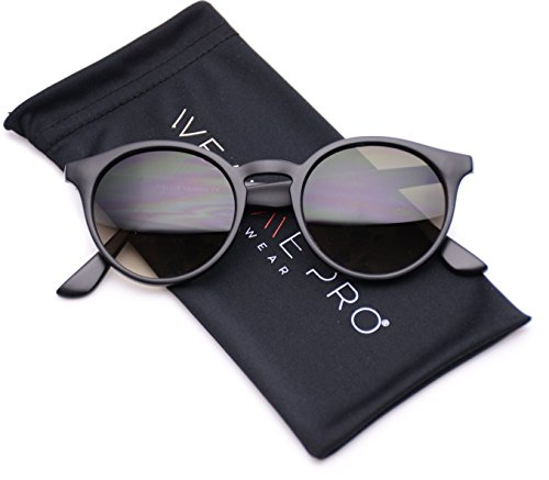 WearMe Pro Classic Small Round Retro Sunglasses, Black Frame/Black Lens