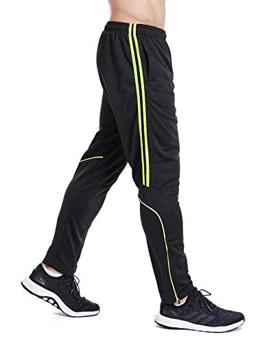 Men's Sweatpants Track Soccer Training Pants Active Jogger Pants Slim Fit Trousers Striped with Zipper Pockets -