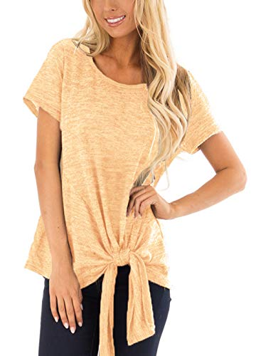 Women Clothing Summer Short Sleeve Twist Cute Loose Tops Yellow XL