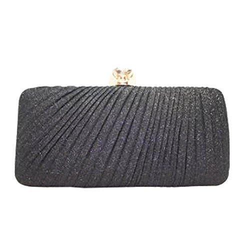 paillettes main NEUF mariage Diamant Small bal Coffret décoration Gris femme Sac pour à Noir brillant plissé pochette R7t7Fq