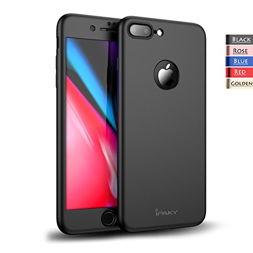 iPhone 8 Plus Case - Rebex & iPaky 360 All-around Protective Cover Thin Slim Fit [Non-Slip] Dual Layer Hard Case With Tempered Glass Screen Protector For iPhone 8 Plus (Black)