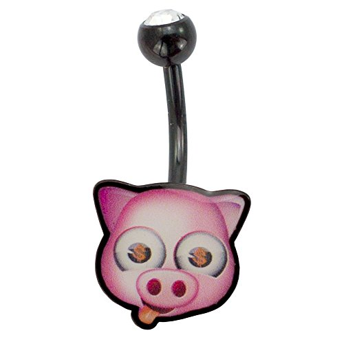 Face Belly Ring - Emoji Belly Ring Piercing, Pig with Tongue Out Emoji, Fun Emoticon Face Belly Banana, Stainless Steel Belly Button Ring, 14 Gauge - 7/16