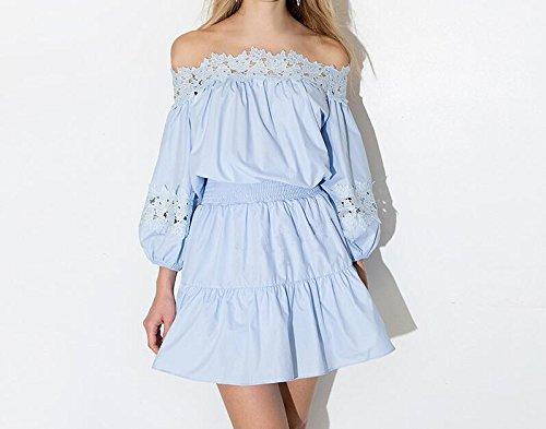 detailed look e0dc0 f830f Cystyle Damen Sommer Kleid Elegant Schulterfrei Kleid Spitze ...