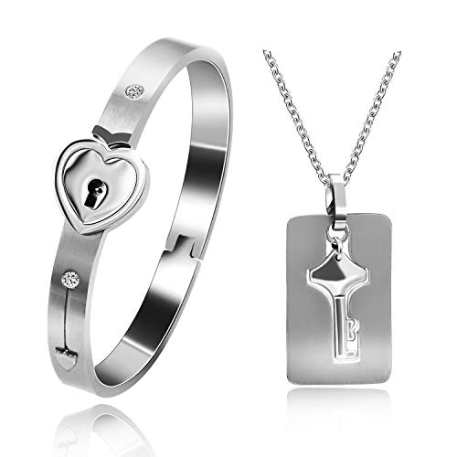 Uloveido His and Hers Matching Set Couple Titanium Only You Have My Key Bangle Bracelet Lock and Key Necklace Set for Girlfriend and Boyfriend SN300 - Heart Lock Bracelet