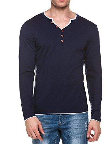 Men Fashion Casual Slim Henley Shirts Long Sleeve T-Shirt Tops (M, Dark Blue)