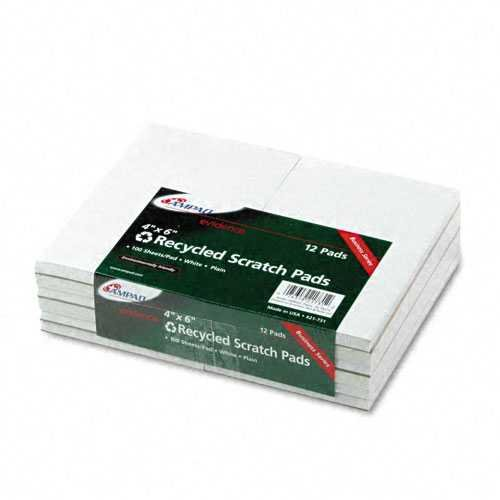 Bulk Scratch Pad, Recycled, 4''x6'', Plain, 100 Sheets: Ampad Tops 21-731 (96 Scratch Pads)