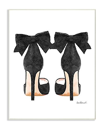 Stupell Industries Glam Pumps Heels With Black Bow Wall Plaque Art, Proudly Made in USA