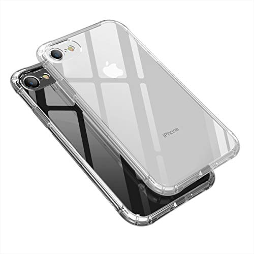 Weuiean iPhone 8/ iPhone 7 Clear Case, Shockproof Drop Protection Seethrough Case Gaming Style Case Flexible Soft Silicone Bumper Protective Case for iPhone 7/8 4.7 inch - Transparent
