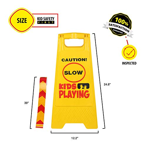 Kid Playing Caution Sign – Children Safety Slow Road Yard Sign - Double Sided Sign Bundled with Reflective Tape by Budgetizer (Image #3)