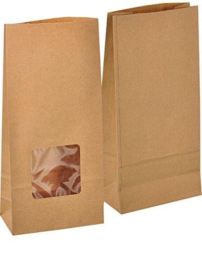 Sacchetti di carta marrone con finestrella trasparente, per pane, noci, biscotti, ecc. Misure 12x 6x 25cm, grammatura 70 g/m², quantità 50 pezzi KGpack