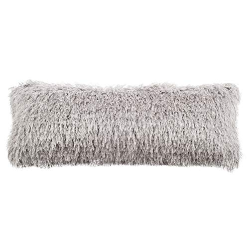 (Safavieh Shag Modish Metallic Throw Pillow, 12' x 20', Silver)
