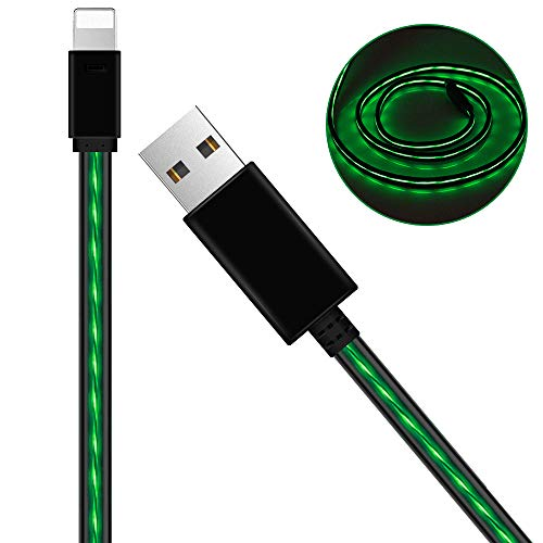 Charging Cables,AoLiPlus 6FT Visible Flowing EL Light LED Charging Cords Sync Data Cord Compatible with Phone 7/7 Plus/ 6/6 Plus/ 6s/ 6s Plus /5/5s/SE Pad/Pod and More 1.8M - Green